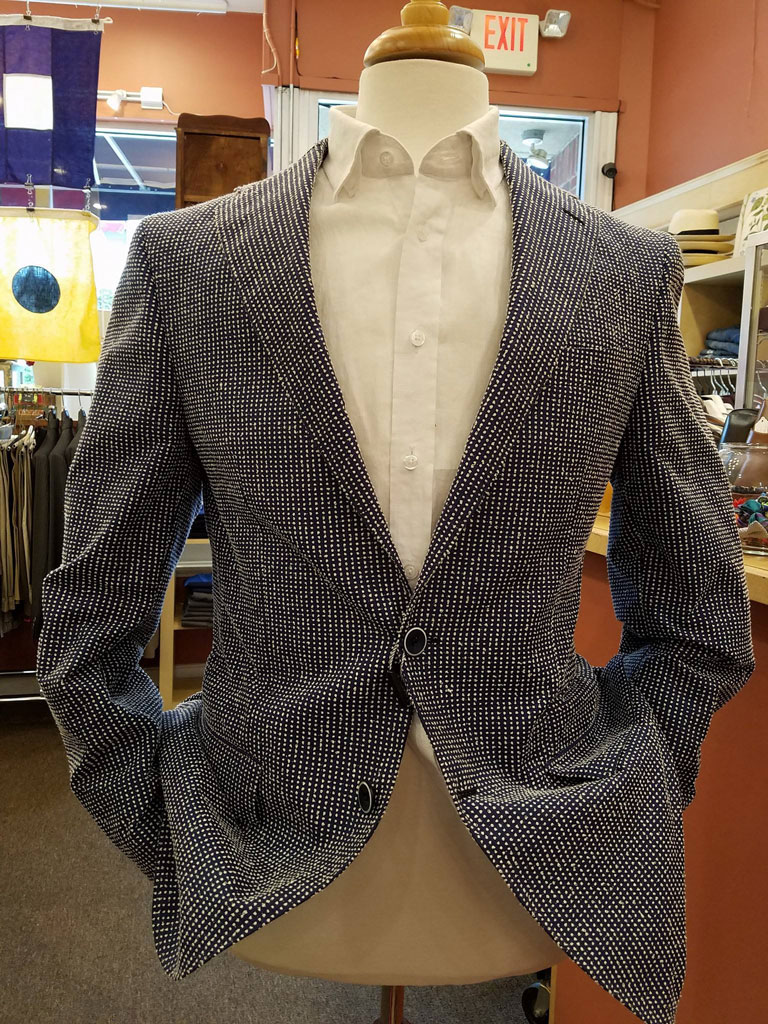 This unique sportcoat can be worn for a night out, and is a great alternative to a Navy Blazer.